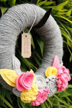 Yarn wrapped Wreath with Dimensional Felt Flowers