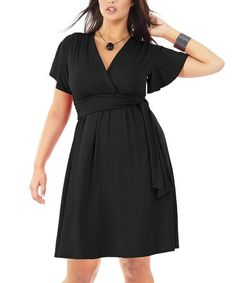Take a look at this Noir Lysma Surplice Dress - Plus by Formidables by Scarlett on #zulily today!