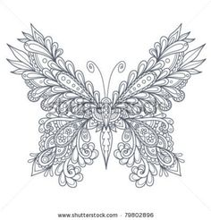 stock vector : Paisley Butterfly Outline