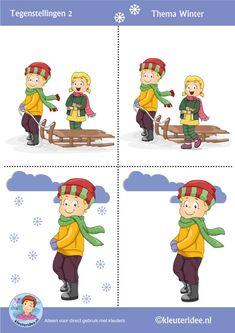 Tegenstellingen 1 voor kleuters, thema winter, kleuteridee, Preschool winter opposites, free printable! Winter Art, Winter Theme, Winter Activities, Preschool Activities, Teacher Notebook, Picture Story, Expresso, Kids Christmas, Seasons