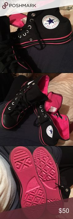 HOT pink and black CONVERSE NWOT SIZE m5.5 w7.5 These are fabulous not much more to say! High top converse men's 5.5 women's 7.5 Converse Shoes Sneakers