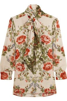 Gucci for NET-A-PORTER - Pussy-bow floral-print silk blouse
