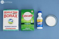 Miracle Laundry Whitening Solution HOT HOT HOT water 1 cup of laundry detergent (store-bought or homemade) 1 cup powdered dishwasher detergent 1 cup bleach 1/2 cup borax