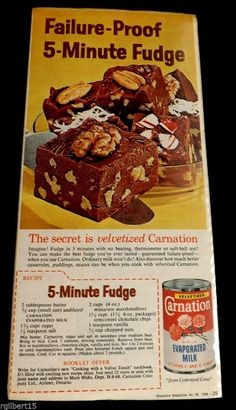Carnation Evaporated Milk 5 Minute Fudge Recipe 1960 VTG Original Color Ad…
