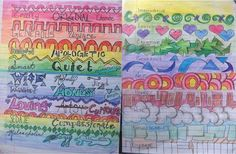Two versions of the same assignment - describe yourself using adjectives with doodles and colors between lines.