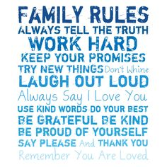 Family Rules Canvas Giclee II