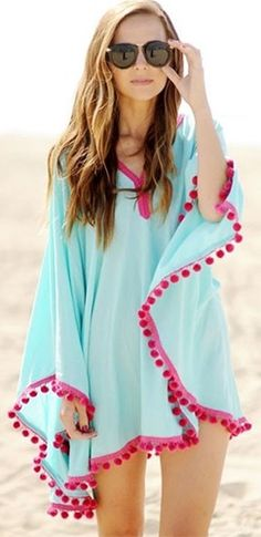 By The Pool Aqua Blue Fuchsia Pink Pom Pom Trim Long Sleeve V Neck Beach Caftan Tunic Top