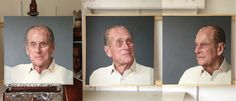 HRH Prince Philip at 90 (Photographed in progress), oil on 3 canvases, each 91 x each panel, 2013 Portrait Art, Portraits, Prince Philip, Art Reference, Canvases, Painting, Oil, Artists, Image