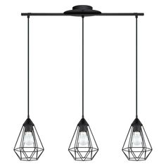 EGLO Tarbes Matte Black Pendant Light Modern/Contemporary Geometric Pendant Light at Lowe's. A faceted, matte black cage shade gives the Tarbes pendant light by Eglo its modern industrial vibe. This pendant light would perfectly showcase an Edison Geometric Pendant Light, Cage Pendant Light, Black Pendant Light, Multi Light Pendant, Mini Pendant Lights, Pendant Lighting, Chandelier, Multi Luminaire, Deco Luminaire