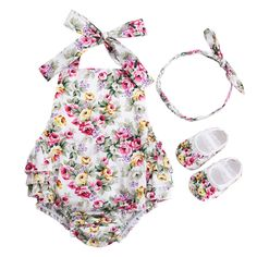 Cheap baby jumpsuit, Buy Quality toddler girl romper directly from China girls romper Suppliers: 3 PCS Baby Girl Clothing Set Baby girls Vintage Floral Toddler Girl Rompers Onesie Baby Jumpsuit With Bow Headband Shoes Set