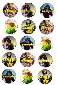X Men inspired INSTANT DOWNLOAD 1 Inch circle by SindyOriginalArt, $1.95