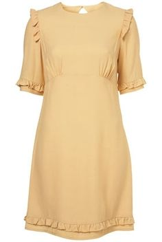 Sand Ruffle Sleeve Shift Dress - StyleSays