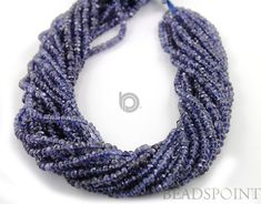Natural Iolite Micro Faceted Rondelles AAA Quality by Beadspoint, $21.99