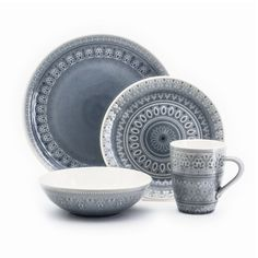 Euro Ceramica Fez Crackle-Glaze Gray Stoneware Dinnerware Set, Service for 4 - The Home Depot Teal Dinnerware, Stoneware Dinnerware Sets, Porcelain Dinnerware, Tableware, Everyday Dishes, Cabin Kitchens, Blue Pottery, Dinner Sets, Decorative Plates