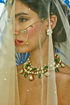 Anita Dongre Festive 2014 collection bridal jewelry and nose ring Vogue Wedding, Desi Wedding, Desi Bride, Wedding Ideas, Wedding Bride, Indian Bridal Fashion, Indian Bridal Wear, Ethnic Jewelry, Indian Jewelry