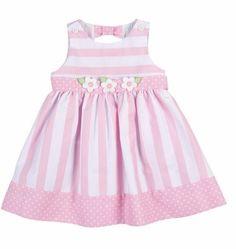 Florence Eiseman Girls Pink Stripes & Dots Pique Sun Dress