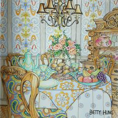 Coloring by Betty Hung - colorart.ca | Sun bathed dining room in Debbie Macomber's Come Home to Color