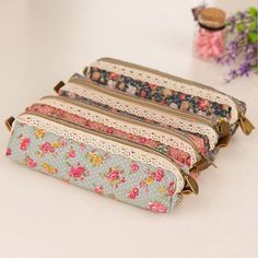 Cute Useful  Flower Lace Floral Zipper Pen Pencil Bag Case Cosmetic Make Up Bag