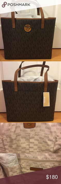 Michael Kors Jet Set Tote Bag Gorgeous. New With Tags. Michael Kors Jet Set Tote Bag. Brown & Gold. Large Size. Great For Traveling! Michael Kors Bags