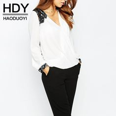 Hdy haoduoyi neue bluse frauen fashion casual tops spitze patchwork chiffon bluse shirt langarm-shirt bürodame bluse