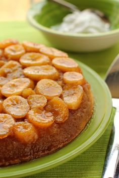 Caramelized Banana Upside-Down Coconut Cake With Coconut Whipped Cream ~ re-pinning from my Creative Cakes Board