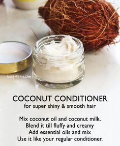 HOMEMADE COCONUT CONDITIONER - BestOfTips What with hair-fall issues, scalp irritations and other problems, many men and women are going the chemical-free route and trying out homemade hair conditioners. The best part of these homemade hair c Homemade Hair Conditioner, Coconut Conditioner, Coconut Shampoo, Natural Hair Conditioner, Natural Hair Care, Natural Hair Styles, Natural Shampoo, Natural Beauty, Coconut Hair