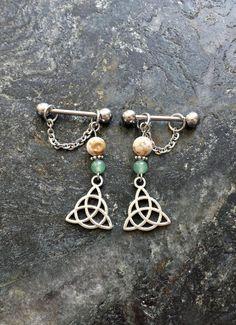 #nipplepiercing #nipplepiercings #nipplejewelry #nipplebarbells #piercing #piercings #bodypiercing #bodyjewelry  Trinity Celtic Knot - Howlite & Aventurine - Set of 2 !! 14g (1.6mm) or 16g (1.2mm) Nipple Barbell Jewelry Piercings Accessory 14 16 Gauge