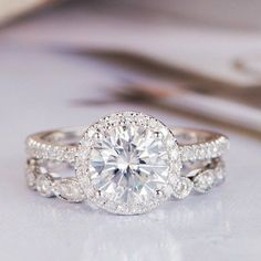 Moissanite Engagement Ring Set Antique White Gold Round Cut Art Deco  Diamond Wedding Ring  ArtDecoDiamond c7fe77ee613