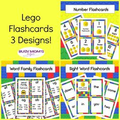 If your kids love LEGOs as much as ours do, you'll want to print all three sets of our new LEGO flashcards. They make learning fun! Number Flashcards, Sight Word Flashcards, Teaching Schools, Teaching Ideas, Easy Crafts For Kids, Kid Crafts, Preschool Prep, Word Free, Gift Tags Printable