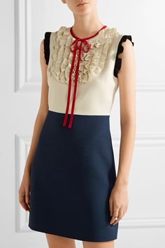 Gucci   Ruffle-trimmed silk and wool-blend mini dress   NET-A-PORTER.COM