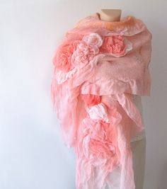 Nuno felted scarf ruffle - coral Rose flower Apricot Pink. $125.00
