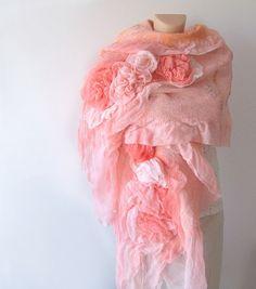 Nuno felted scarf ruffle - coral Rose flower Apricot Pink. $125.00, via Etsy. #nunofelted #scarf #coral #apricot #silk #rose #felting