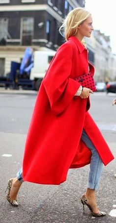Red trench coat, boyfriend jeans, heels
