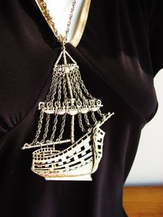 Vintage Pirate Ship Necklace Clipper Ship by DewyMorningVintage-I'd Love this hung in a picture frame !
