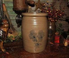 Primitive Antique Vtg Style Decor Blue Floral Jug Stoneware Wax Sealer Jar Crock #NaivePrimitive