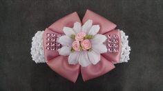 Pink Rose Headband Rhinestone Headband by GloriaMillerCreation, $7.25