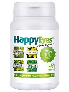 Vedere imbunatatita HappyEyes - Cea mai complexa formula pentru sustinerea sanatatii ochiului, continand vitamine, minerale si extracte vegetale.