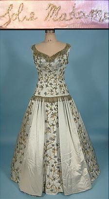 """c. 1954 BALMAIN's """"Jolie Madame"""" Opulent Light Blue Silk Satin Beaded Ballgown"""