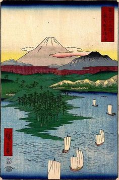 Mt. Fuji from Yokohama by Hiroshige - from the 36 Views of Mt. Fuji series (1858)** This guy has a Bunch of his work, thought you might like to link to his board on your own :)