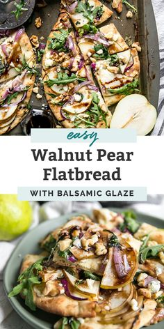 Walnut Pear Flatbread is a gourmet pizza recipe that's super easy and delicious! This vegetarian flatbread can be made in just 20 minutes and is perfect for a Meatless Monday dinner, snack, party appe Gourmet Pizza Recipes, Vegetarian Recipes Dinner, Kitchen Recipes, Pear Recipes Dinner, Gourmet Meals, Healthy Gourmet, Vegetarian Appetizers, Healthy Pizza, Healthy Snacks