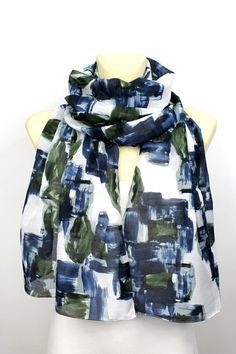 Blue Green & White Floral Scarf - Fashion Scarf - Fabric Scarf - Women Shawl - Unique Boho Scarf - Original Scarf - Trendy Scarf