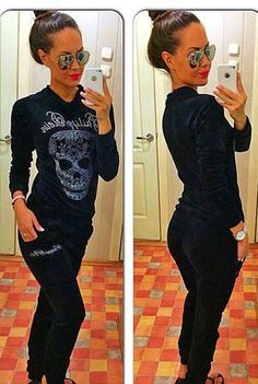 This week only on SALE! New Style Velour women tracksuit skull logo black colour. at fashioncall.net