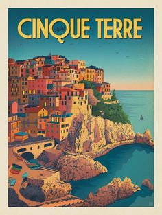 Vintage Travel Anderson Design Group – World Travel – Italy: Cinque Terre - Vintage Italy, Vintage Ads, Travel Illustration, Italy Illustration, Poster S, Poster Retro, Blue Poster, Travel Design, Vintage Travel Posters