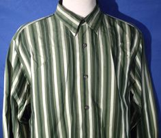 Tommy Bahama Large Long Sleeve Button Front Shirt Striped Silk Wool Green #TommyBahama #ButtonFront