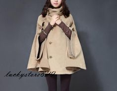 women's  cape Wool Cape Cashmere coat double breasted button coat winter coat Hood cloak Hoodie cape Hooded Cape dy03 S--XL on Etsy, $64.39 AUD