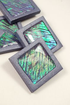 Holo Tiles made from polymer clay with the Holo Effect Technique. By The Blue Bottle Tree
