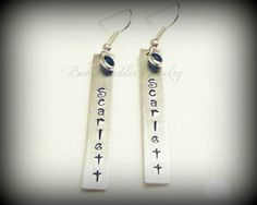 Hand Stamped Jewelry Personalized Aluminum Earrings with Swarovski Crystal. $24.00, via Etsy.