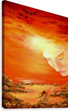 Fantasy, sky,fairy,angel,seascape,sunset,sunrise,orange,painting, decor,wall art, canvas print, artwork,for sale,pictorem