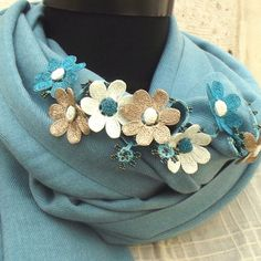 Turkish OYA Lace - Pashmina stole DAISY- Turquase by DaisyCappadocia on Etsy