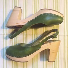 Swedish Hasbeen Peeptoe Slingback clogs Purchased these from Saks a few summers ago. Only wore lightly once (took them off right away) because they are sadly too small for me  I typically wear a size 8.5 and these are a size 8. They are in near perfect condition. I hung onto them for awhile because I love them so much and the green color is hard to find, but they just aren't my size... Swedish Hasbeens Shoes